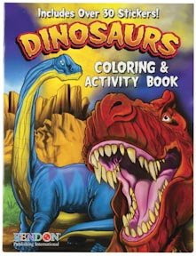 Dinosaur Coloring & Activity Book - with Bonus Stickers & Games - great Dinosaur party favor