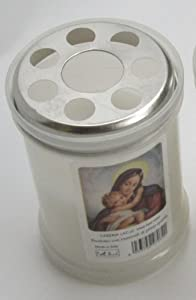 Set of 4 White Votive Candles - Virgin Mary [ Italian Import ] from Cereria LAC srl