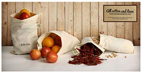 """Ensemble de 7 organiques Sacs Coton Produce - Fruits, Sac de légumes, de jouets, sacs à lunch pour les hommes, femmes et enfants, Matériel de sport, Tissu Blanchisserie, Voyage, organisation, Stockage et épicerie et stockage des fruits légumes et produits maraîchers - Eco friendly - réutilisables produire des sacs, 100% coton biologique. Multi-Purpose utilisation. Lavable, Heavy Duty, Eco Friendly, (set 3 dimensions (2 Pcs - 6x10 """", 2 pièces - de 10x12"""", 3 PCS 8x10 """")) Pliable"""