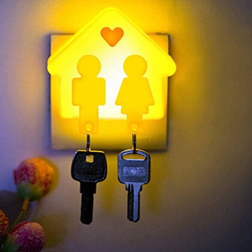 Topcabin Love Couple Hut Keychain Intelligent Light Sensor Night Light (yellow) - 1