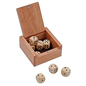 Wooden Dice Box and 8 Wooden Dice