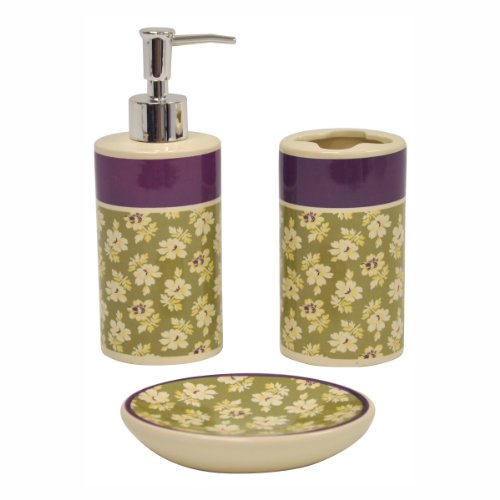 Waverly Traditions by Famous Home Fashions Floriana Sage Bath Set, 3-Piece