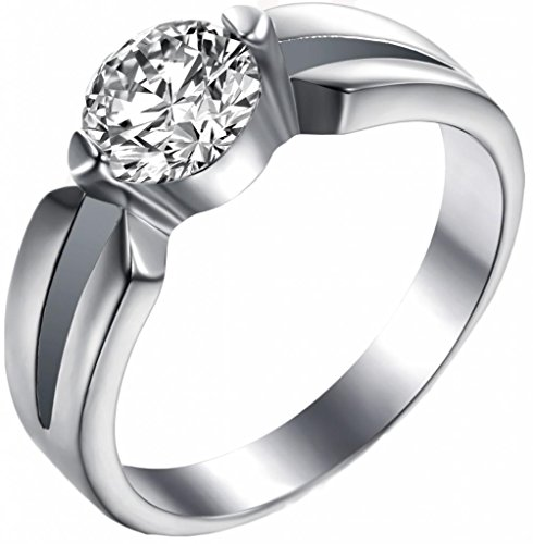 Bishilin Women'S Rings Cubic Zirconia Wedding Love Stainless Steel White Size 7