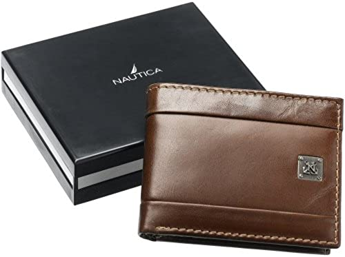 04. Nautica Men's Leather Passcase Bifold Wallet with Removable Card Case