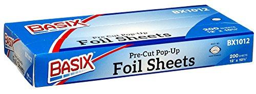 Basix Pre Cut Pop Up Aluminum Silver Foil Sheets 200 Count (Freezer Paer compare prices)