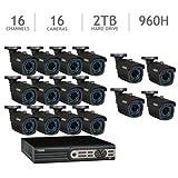 Q-See QT5716-16P3-2 16-Channel DVR 960H Security Surveillance System, 16 Hi-Resolution ***900***TVL Cameras, 2TB Hard Drive (Black)