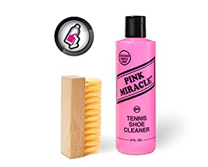 Pink Miracle Bottle - Shoe Cleaner - and Fabric Cleaner Solution With Free BONUS Brush - Works on Leather, Whites, Nubuck, Golf Shoes, Basketball Shoes, Boots, Sandals, Home and Car Upholstery - NON TOXIC
