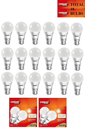 8W LED Bulbs (Cool Day Light, Pack of 18)
