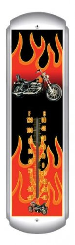 Chopper Flames Motorcycle Thermometer - Victory Vintage Signs