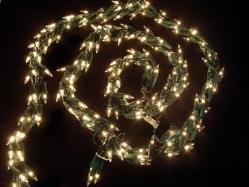 9' Christmas Light Garland with 300 Clear Mini Lights - Green Wire