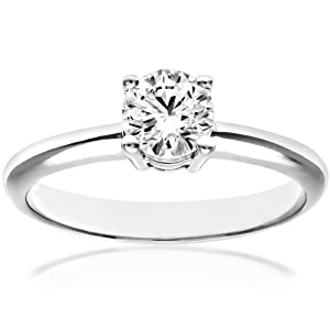 Ariel 18ct White Gold 4 Claw Engagement Ring, E/SI2 EGL Certified Diamond, Round Brilliant, 0.50ct