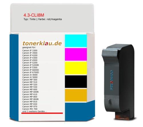 Tinte 4.3-CLI8M kompatibel zu Canon CLI-8M geeignet für: Canon iP 3300 / Canon iP 3500 / Canon iP 4200 / Canon iP 4300 / Canon iP 4500 / Canon iP 5200 / Canon iP 5200R / Canon iP 5300 / Canon iP 6600D / Canon iP 6700D / Canon iX 4000 / Ca ... und weitere