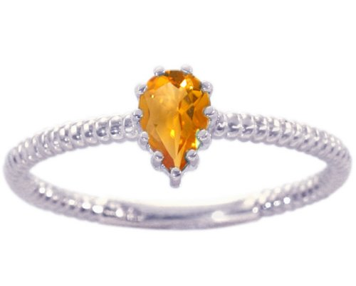 14K White Gold Pear Gemstone Solitaire Stackable Ring-Citrine, size7