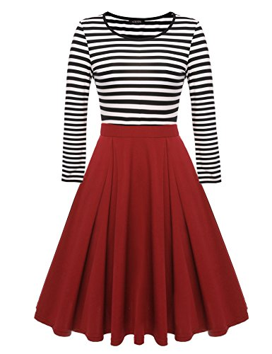 ACEVOG Women's Vintage Stripes Patchwok A-line Long Sleeve Cocktail Dress