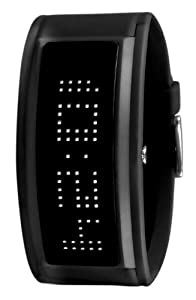 Black Dice 'Guru' Black Unisex Watch With White LED Programmable Scrolling Message