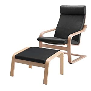 Ikea Poang Chair Armchair And Footstool Set With Black Leather Covers Kitchen Dining