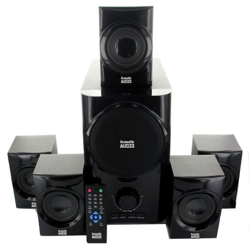 Acoustic Audio Aa5160 Home Theater 5.1 Speaker System 500W W/ Bluetooth Powered Sub & 5 Ext Cables Aa5160B-5