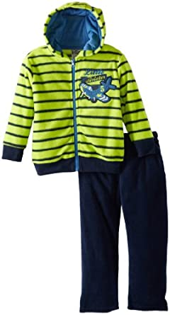 Little Rebels Little Boys' 2 Piece Aviator Fleece Jacket Set, Green, 4T