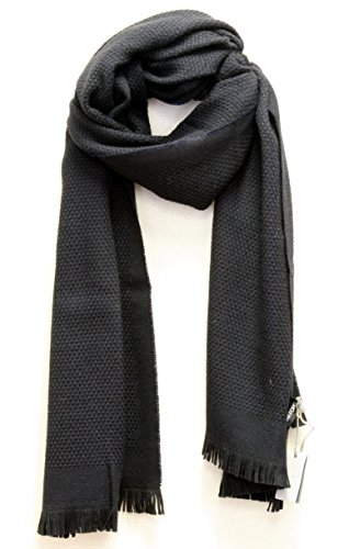 TOM FORD 100% Wool Woven Scarf - Navy & Black (Ford Scarf compare prices)