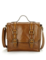 M&S Collection Leather Buckle Boxy Satchel Bag