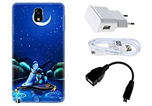 Spygen Samsung Galaxy Note 3 Case Combo of Premium Quality Designer Printed 3D Lightweight Slim Matte Finish Hard Case Back Cover + Charger Adapter + High Speed Data Cable + Premium Quality OTG