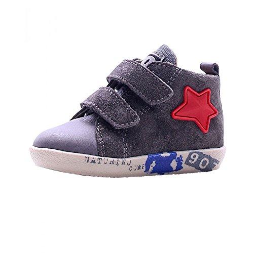 Falcotto scarpe bimbo unisex 1099 - Sneaker Falcotto by Naturino 1427VL Nappa/Velour, Piombo, Grigio - Numero: 18