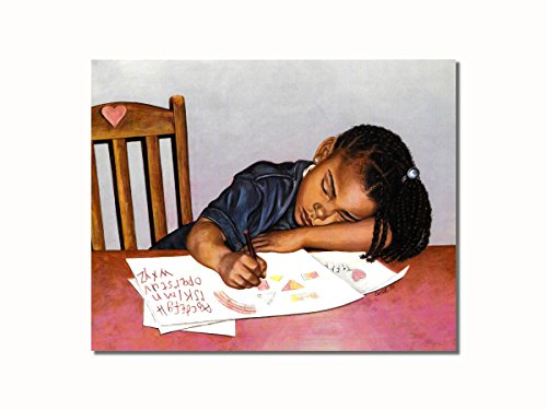 African American Black Girl at Table Doing Homework Wall Picture 8x10 Art Print (African American Pictures compare prices)