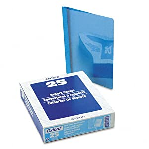 "Clear Front Report Cover Tang Clip Letter 1/2"""" Capacity Blue 25/Box"