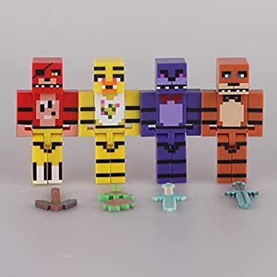Five Nights at Freddy's 4 Pixelated Figure Pack with Freddy Bonnie Chica Foxy, Detachable FNAF Toys Figures Fazbear Appropriate Gifts for Kids by Generic