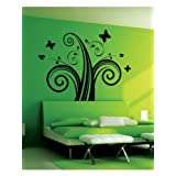 Swirl With Butterfly Wall Sticker Decal - B00G6DCK8A
