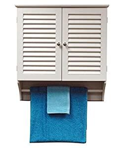 com wall mounted bathroom cabinet with shelves and towel bar in white
