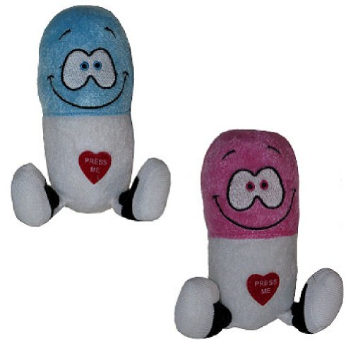 Giggling Happy Pills Plush Toys - Animated Laughing Medicine (Set of 2) - 1