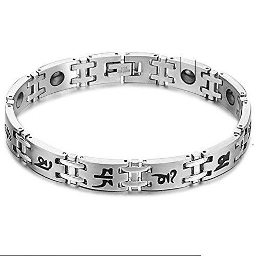 Bemaystar Men'S Titanium Stainless Steel Bracelets Solid Color Silver (Wide/Fine)