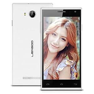 5.0'' LEAGOO Lead 5 IPS Screen HotKnot 3G Smartphone Android 4.4 MTK6582 1.3GHz Quad Core Mobile Phone Dual SIM 1G RAM 8G ROM GPS Wake Gesture Cellphone WIFI (White)
