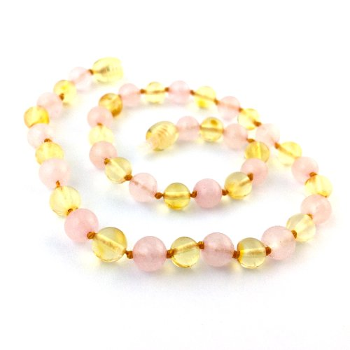 "Hazelaid (TM) 14"" Pop-Clasp Baltic Amber & Gemstone: Lemon & Rose Quartz"