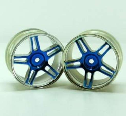 Redcat Racing Chrome 5 Spoke Split Blue Anodized Wheels (2 Piece) - 1