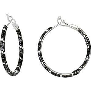 IceCarats Designer Jewelry 2 Ctw Black And White Diamond Inside/Outside Hoop Earrings 14K White Gold