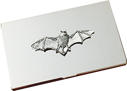 Chrome Business Card and Credit Card Holder Case with Pewter Bat Emblem, Complete with Gift Box