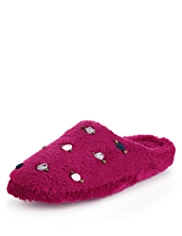 Per Una Recycled Rose Appliqué Mule Slippers