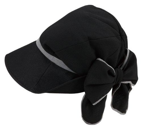 髪型ふんわり小顔UV帽子ブラック 紫外線対策