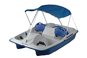 Sun Dolphin Sun Slider Adjustable Seat Lounger Pedal Boat with Canopy, Blue by Sun Dolphin