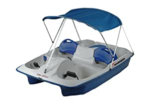 Sun Dolphin Sun Slider Adjustable Seat Lounger Pedal Boat with Canopy, Blue
