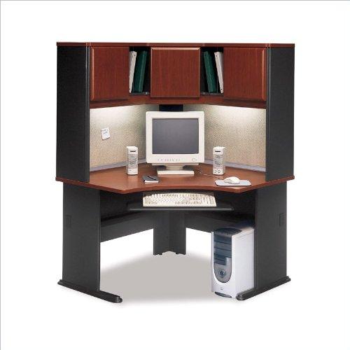 Bush Furniture A-Series Corner Wood Office Desk with Hutch in Hansen Cherry