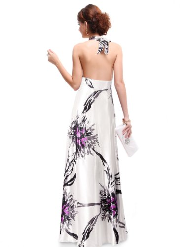 HE09614PP14, Purple, 12US, Ever Pretty Empire Waist Padded Floral Print Sexy Plunge V-neck Prom Dres..