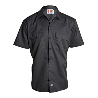 Dickies S/S Chambray Shirt, Charcoal Grey Size: M