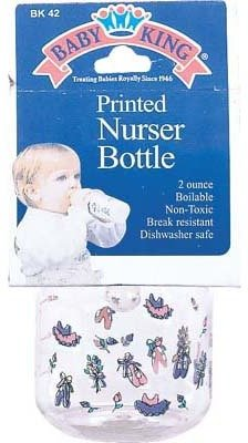 Baby King Printed Nurser Bottle - 2Oz. [6 Pieces] *** Product Description: The Printed Nurser Bottle Is Perfect For Use By Infants. It Is Boilable, Non-Toxic, Break Resistant And Dishwasher Safe. Capacity: 2 Oz. Non-Toxic *** front-500433