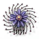 Amethyst Starburst Spiral Flower Hair Comb