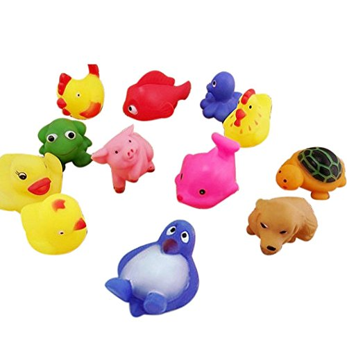 Baby Toy, Hatop 13Pcs Cute Soft Rubber Float Sound Baby Wash Bath Play Animals Toys (Baby Food Sqeeze compare prices)