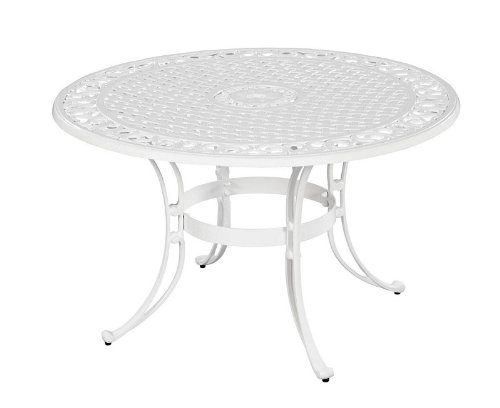 Home Styles 5552-30 Biscayne Round Outdoor Dining Table, White Finish, 42-Inch photo