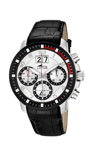 Lotus Men's Quartz Watch with White Dial Chronograph Display and Black Leather Strap 10116/1